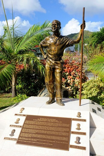 Stock Photo: 1566-724023 Statue Ralph O´Neal Road Town Tortola BVI Caribbean Cruise