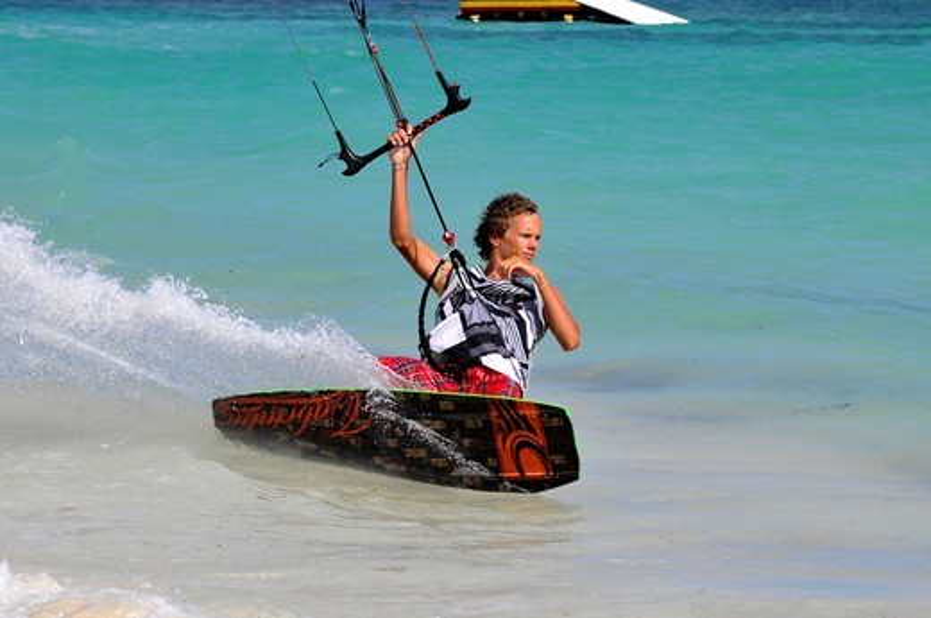 Stock Photo: 1566-724040 Kitesurfing Jabberwock Beach St  John´s Antigua Caribbean Cruise NCL