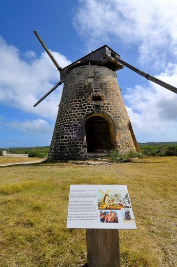 Windmill at Betty´s Hope Sugar Cane Plantation St  John´s Antigua Caribbean Cruise NCL : Stock Photo