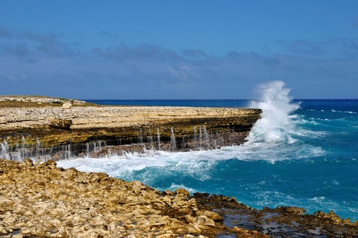 Pounding Surf Waves St  John´s Antigua Caribbean Cruise NCL : Stock Photo