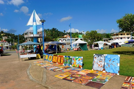 Street Vendors sell art and gifts Samana Dominican Republic Hispaniola Southern Caribbean Cruise : Stock Photo