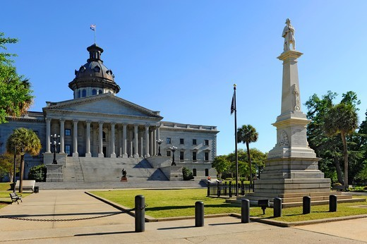 Stock Photo: 1566-724526 Columbia South Carolina Buildings Statues and Landmarks on the State Capitol Capital grounds SC