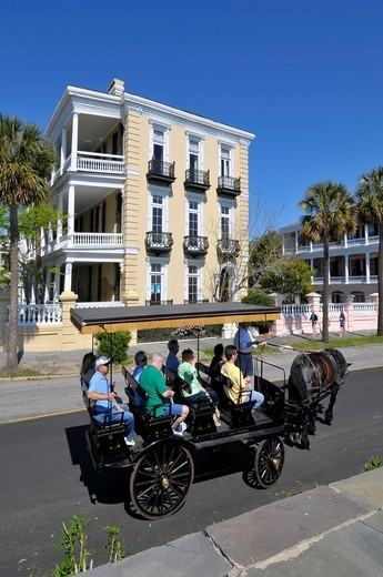 Historic homes and residential dwellings the East and South Battery section in Charleston South Carolina SC circa 1775 buildings : Stock Photo