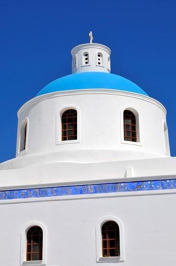 Church Oia Santorini Greece Island Mediterranean Cruise Aegean : Stock Photo