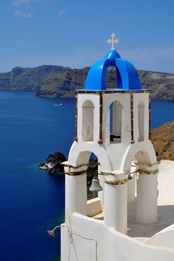 Blue dome whitewash buildings Oia Santorini Greece Island Mediterranean Cruise Aegean : Stock Photo