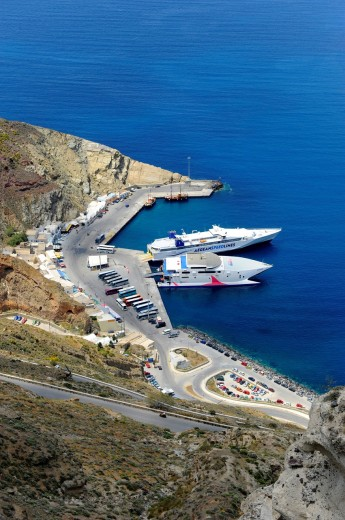 Stock Photo: 1566-724730 Small port area Santorini Greece Island Mediterranean Cruise Aegean