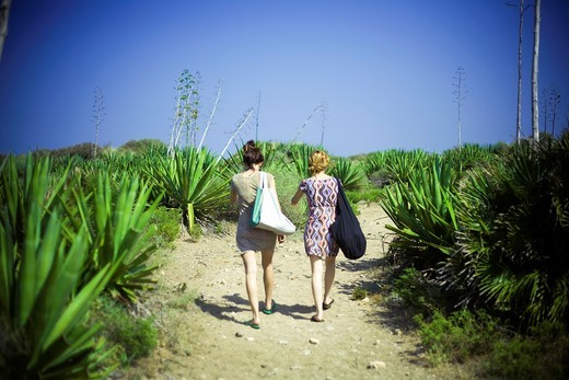 Two girls in Cabo de Gata, Almeria, Spain : Stock Photo