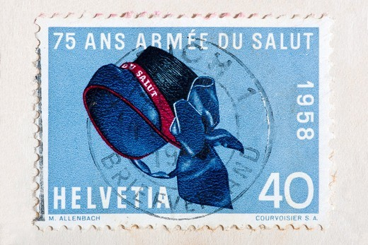 Postage stamp commemorating 75 years of Salvation Army 1958, Switzerland : Stock Photo