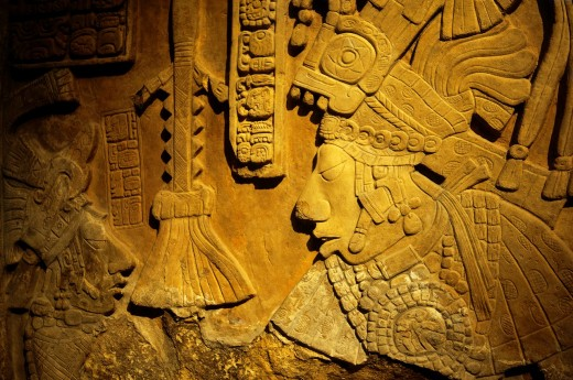 Stock Photo: 1566-725730 Limestone lintel Maya, Mexico