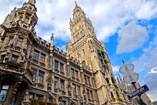 Germany, Bavaria, Munich  marienplatz and the old City Hall : Stock Photo