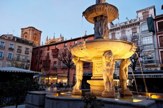 Stock Photo: 1566-725966 Fountain in Plaza Nueva, Granada Spain