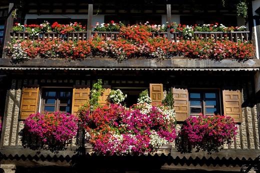 Balcony in the main square of La Alberca, Salamanca : Stock Photo