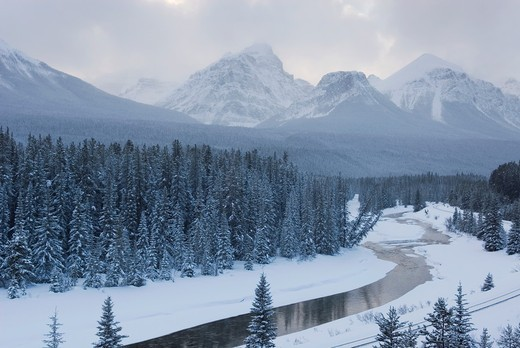 The Bow River and Peaks of the Bow Range, Banff National Park Alberta Canada : Stock Photo