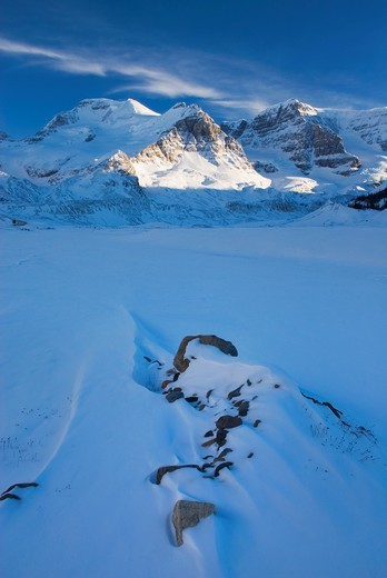 Stock Photo: 1566-726839 Mount Athabasca and Mount Andromeda in winter seen from the glacial plain of the SunwaptaRiver, Jasper National Park Alberta Canada