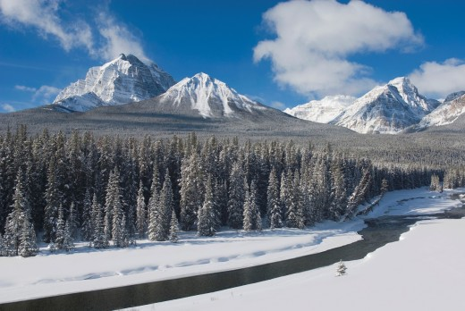 Mount Temple and the Bow River in winter, Banff National Park Alberta Canada : Stock Photo