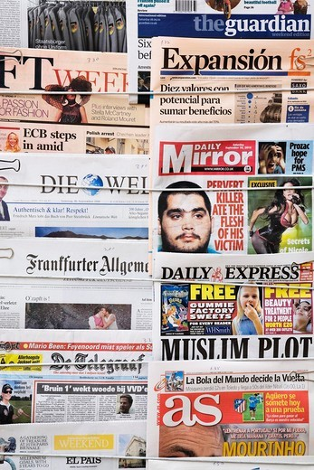 Stock Photo: 1566-727457 English and foreign language newspapers at a newsstand in Lisbon, Portugal, Europe