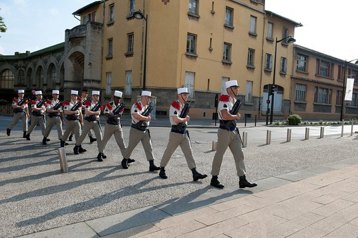 Stock Photo: 1566-729014 Legionary regiment during the French commemoration of the national holiday on july 14 2011, at the Gambetta place, Carcassonne France