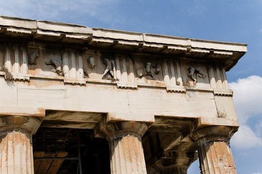 Frieze of The Temple of Hephaestus, best-preserved ancient Greek temple, detail, Athens, Greece : Stock Photo