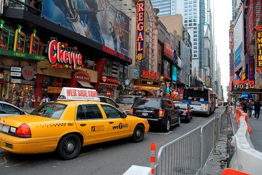 Heavy traffic on West Forty second Street. Theater District, Midtown Manhattan, New York, New York. USA : Stock Photo