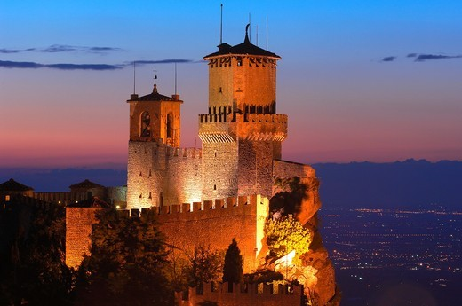 San Marino  Rocca Guaita, Guaita Tower at Dusk  Monte Titano  Republic of San Marino  Italy  Europe : Stock Photo