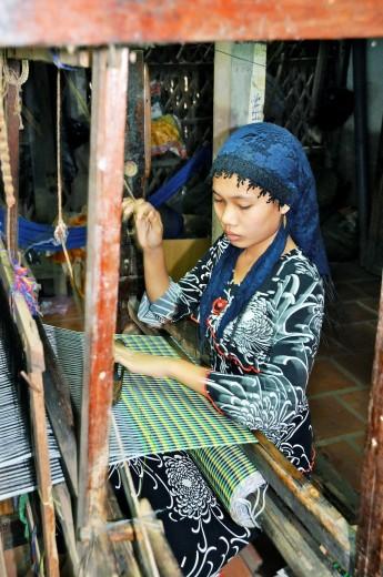 Stock Photo: 1566-730306 Vietnam, Can Tho province, Mekong Delta, Village of silk weaver