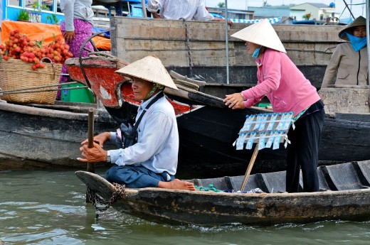 Vietnam, Can Tho province, Mekong Delta, Can Tho Floating Market : Stock Photo