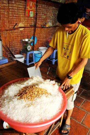 Vietnam, Can Tho province, Mekong Delta, manufactures handmade rice cake : Stock Photo