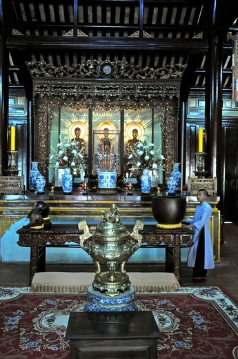 Vietnam, Thua Thien Hue, Hue, classified World Heritage by UNESCO, Thien Mu Pagoda Pagoda of the Heavenly Lady : Stock Photo