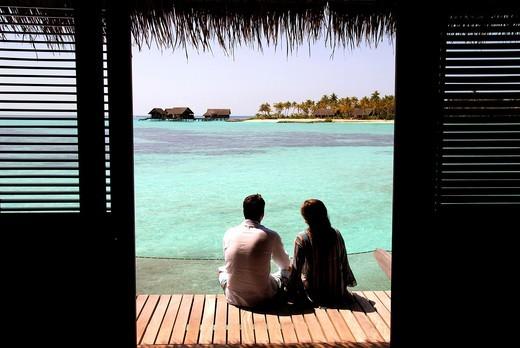 Situé au nord de Malé, à moins d´une heure en vedette de l´aéroport,l´Hotel One & Only Reethi Rah figure parmis les adresses de choix aux Maldives : Stock Photo