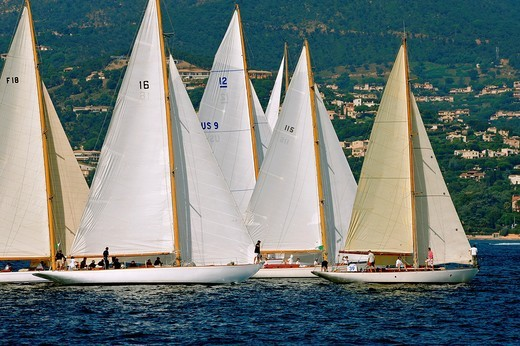 Stock Photo: 1566-731946 France, Var 83, Saint-Tropez, Les Voiles de Saint-Tropez meet every year in late September of beautiful classic yachts competing in regattas superb