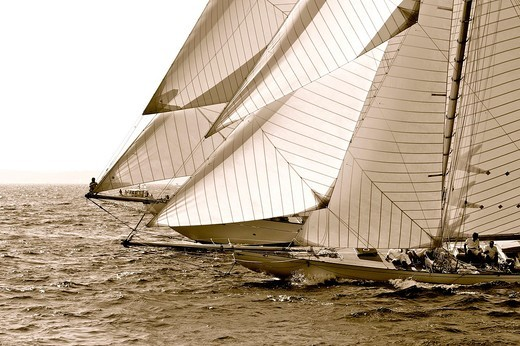 France, Var 83, Saint-Tropez, Les Voiles de Saint-Tropez meet every year in late September of beautiful classic yachts competing in regattas superb : Stock Photo