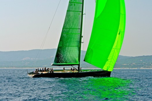 Stock Photo: 1566-731976 France, Var 83, Saint-Tropez, Les Voiles de Saint-Tropez meet every year in late September of beautiful classic yachts competing in regattas superb  Here the modern sailboats as Waly give a different picture of the bay
