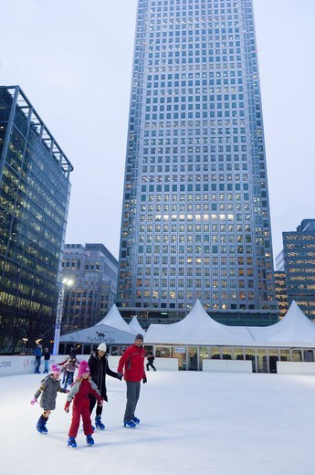 Stock Photo: 1566-732083 Ice-Skating Rink, Canary Wharf, London Docklands, London, United Kingdom,
