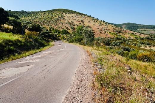 Ba-7021 road in Helechosa de los Montes  Badajoz  Extremadura  Spain : Stock Photo