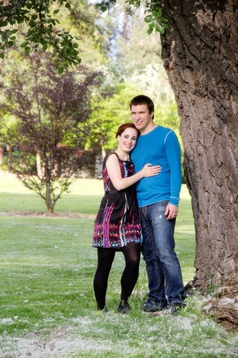 A young couple outdoors : Stock Photo