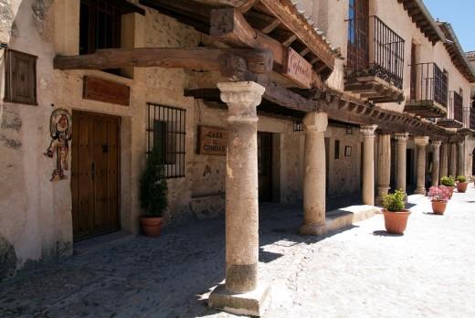 Arcades in Main Square, Pedraza, Segovia province, Castilla-Leon, Spain : Stock Photo