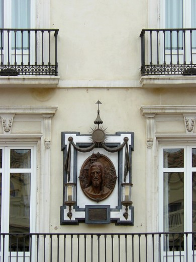 Malaga Spain  Decoration on the exterior of a historic facade of the city of Malaga : Stock Photo