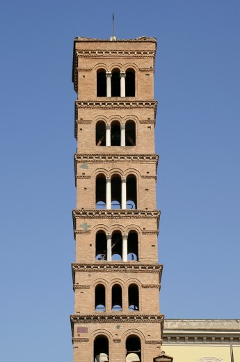 Rome Italy  Belfry of the Church of Santa Maria in Cosmedin in the historic center of Rome : Stock Photo