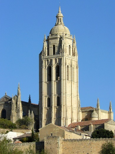 Segovia Spain  Bell tower of the Cathedral of Segovia : Stock Photo