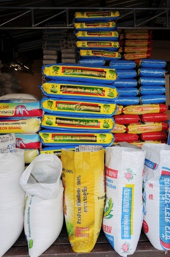 Stock Photo: 1566-736140 Bags of rice are in a rice shop
