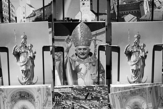 Postcards from Pope Benedict and the Marian column in Munich : Stock Photo