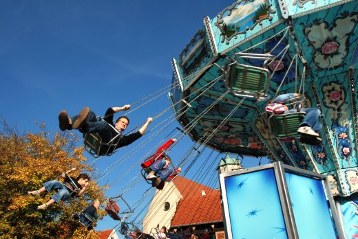 Propelled Kettenkarusell at the fair : Stock Photo