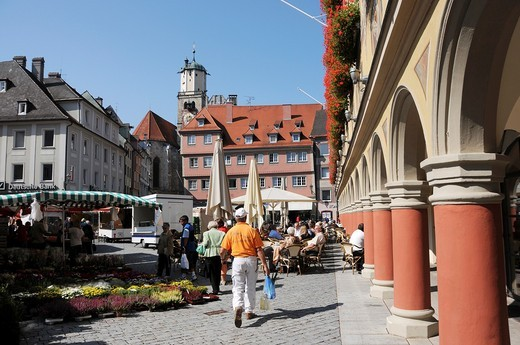 Weekly market in Memmingen : Stock Photo