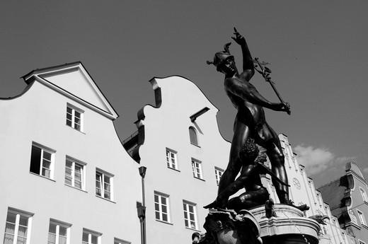 Mercury Fountain in Augsburg : Stock Photo