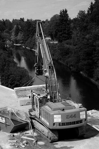 Demolition of a highway bridge : Stock Photo