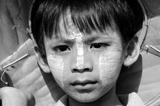 Unhappy Burmese Boy in Sanglaburi : Stock Photo