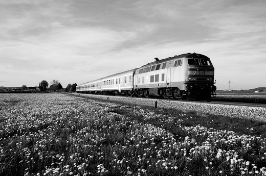 Stock Photo: 1566-737495 Commuter train of Deutsche Bahn AG on a side track
