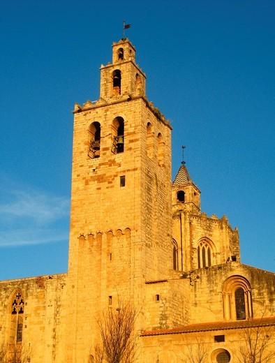 Benedictine abbey, Sant Cugat del Valles, Barcelona province, Catalonia, Spain : Stock Photo