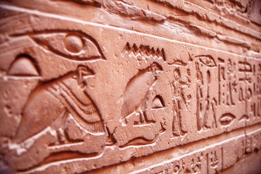 Hieroglyphs in Edfú temple Egypt : Stock Photo