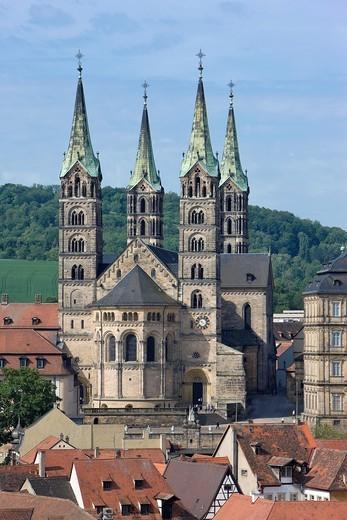 Dom von Osten, Blick vom Turm der Martinskirche, Bamberg : Stock Photo